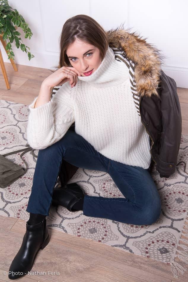 photo mode jean pull blanc et manteau